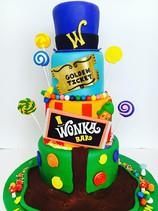 Willy Wonka Golden Ticket Birthday Cake