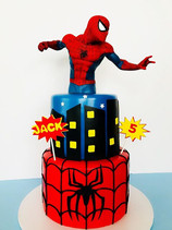 Spiderman in Action Birthday Cake