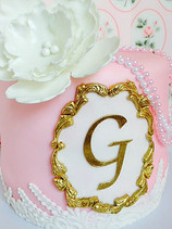 Gold & Pink With Peony Cake