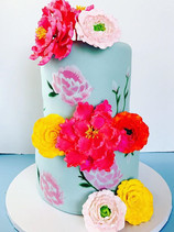 Chic Painted Flowers Cake