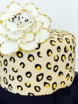 Cheetah Print & Flower Birthday Cake
