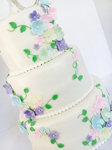 Pastel Flowers  Wedding Cake