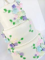 Pastel Flowers  Wedding Cake