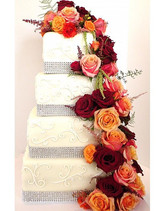 Rustic Roses Wedding Cake