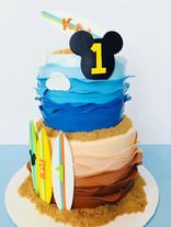 Surfing Mickey Birthday Cake