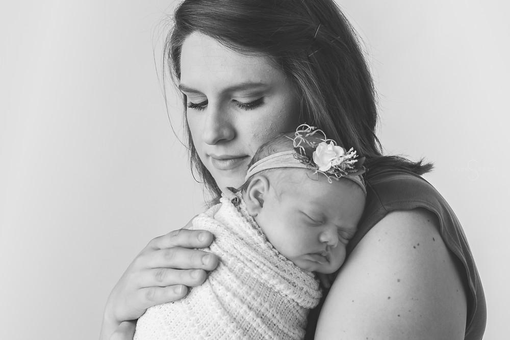 black and white mama and baby