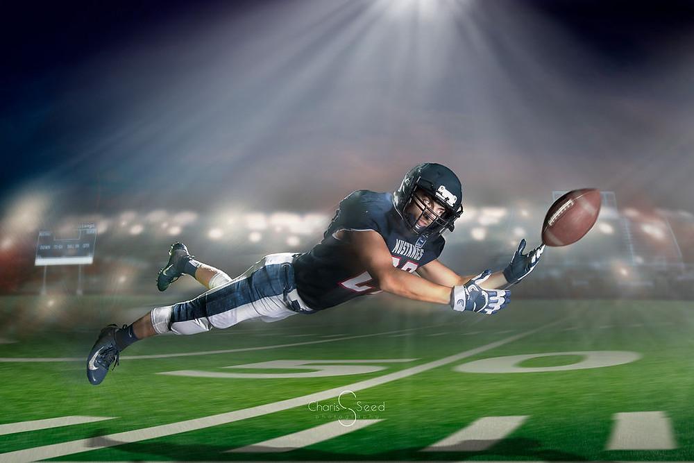 composite senior picture football catch