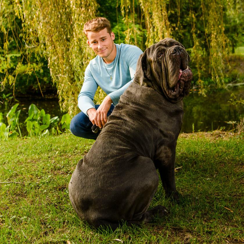 senior pic with dog