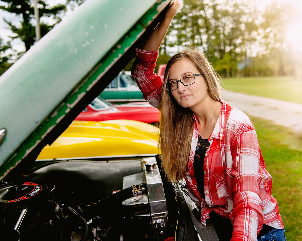Plaid shirt Classic car girl