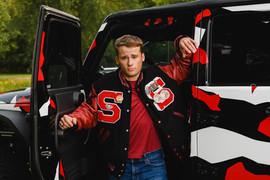 St. Louis letterman jacket senior pictures