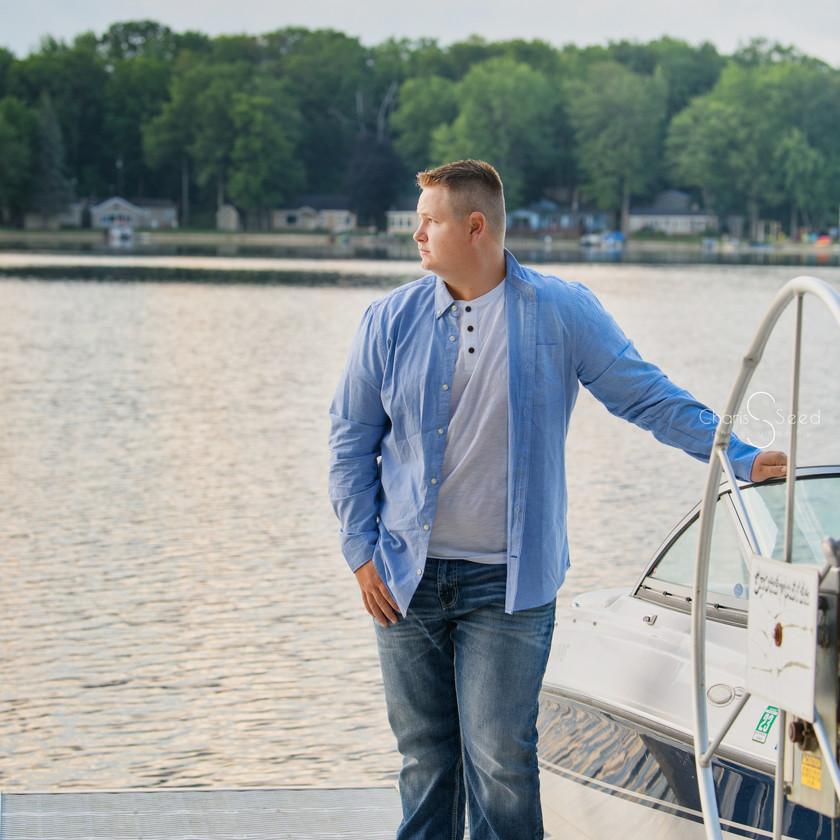 senior guy at the lake