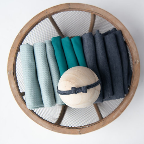 Blues and Greens newborn baby wraps