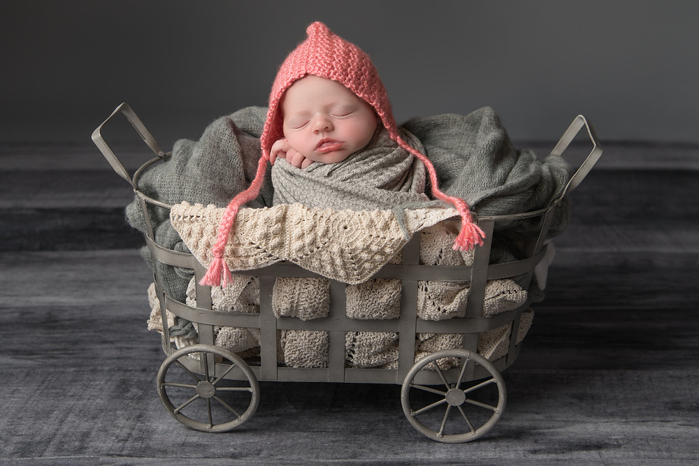 newborn photography in carriage prop