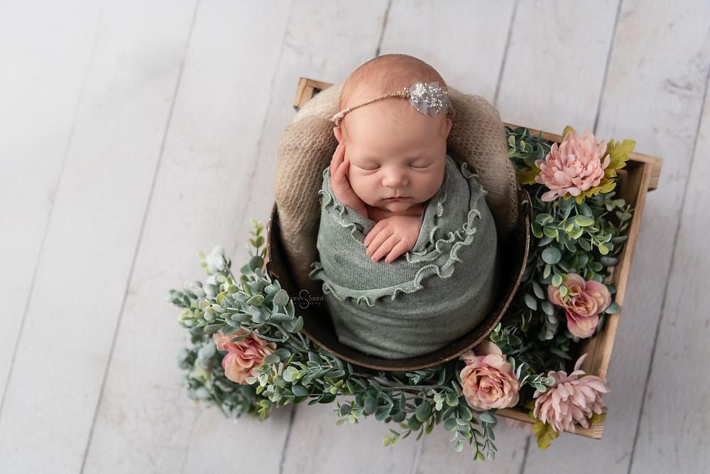sage green baby newborn in bucket