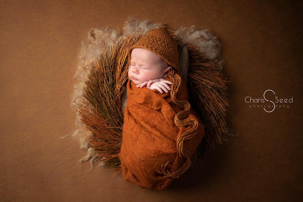 newborn boy in orange autumn colors