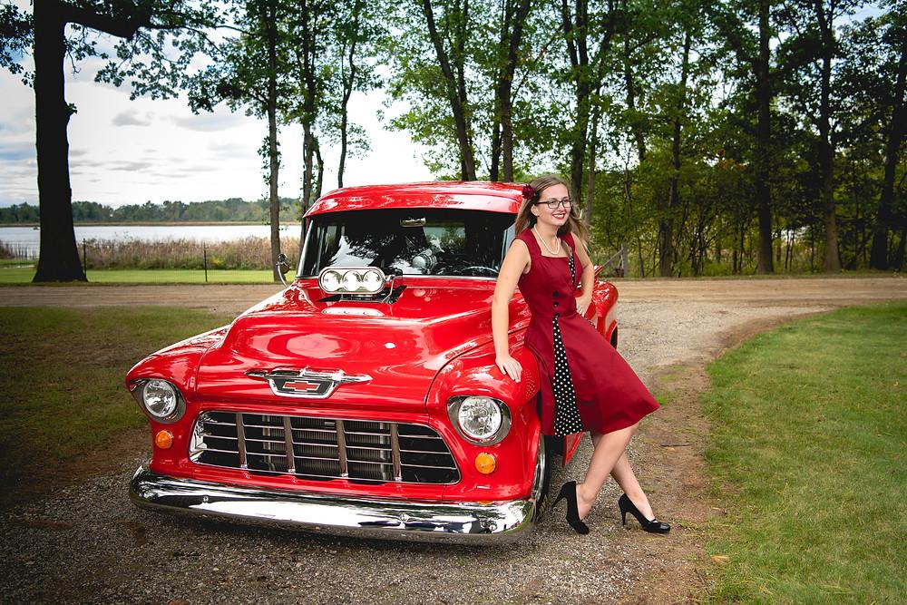 Red classic pickup Truck