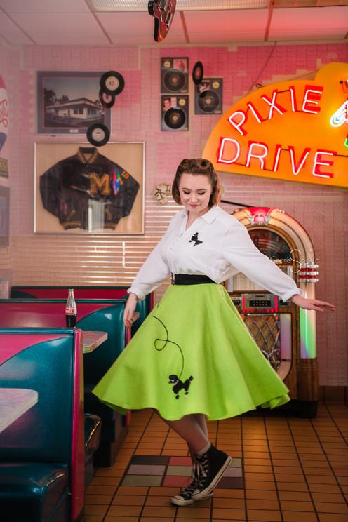 50s diner senior girl