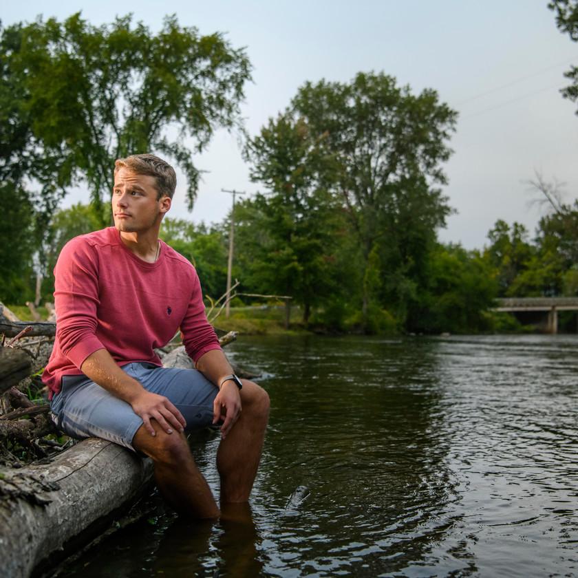 senior Guy near river