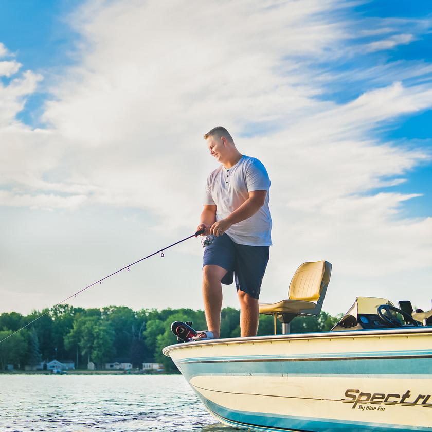 senior guy fishing