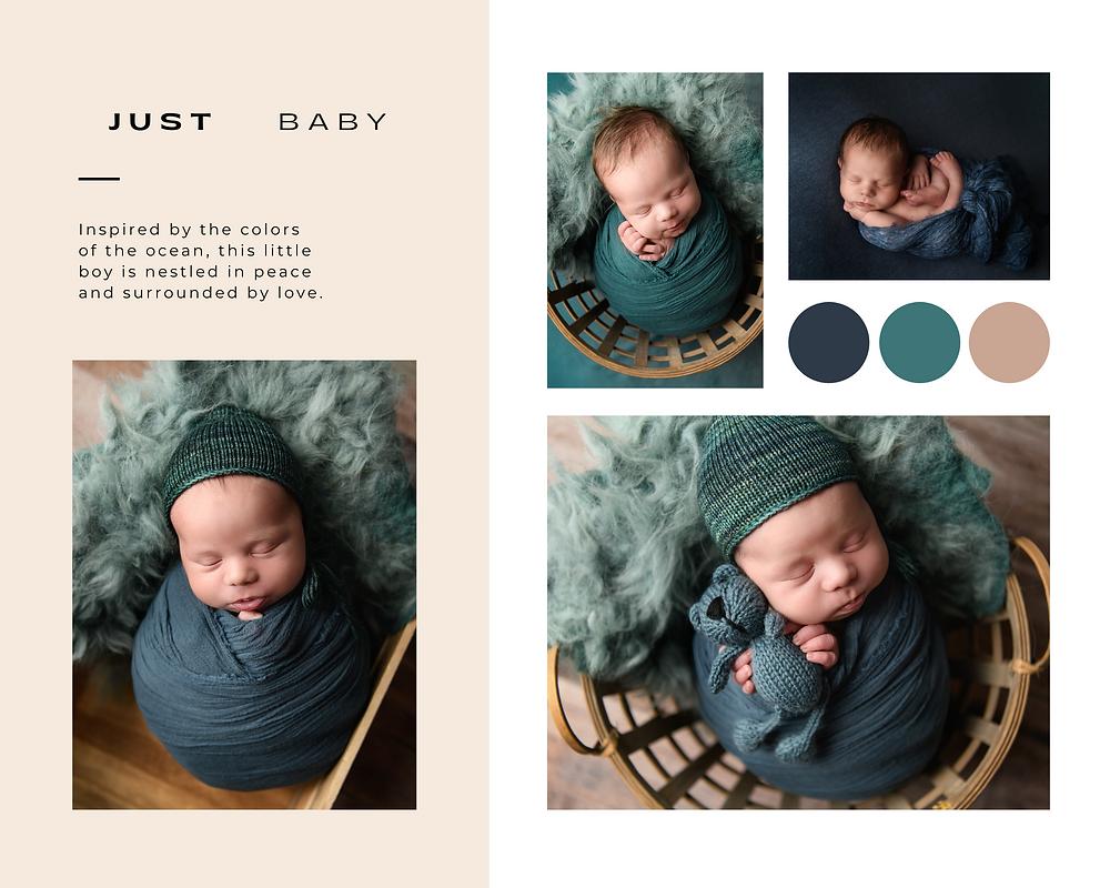 Newborn colors blue green tan