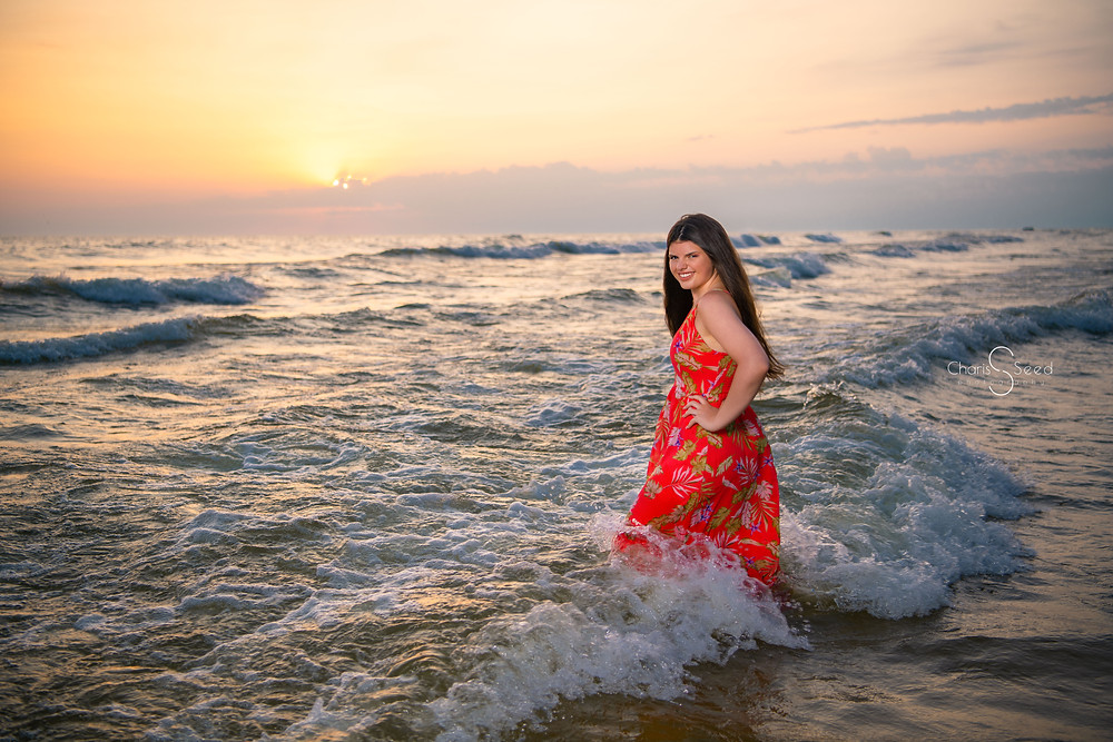 waves crashing senior picture