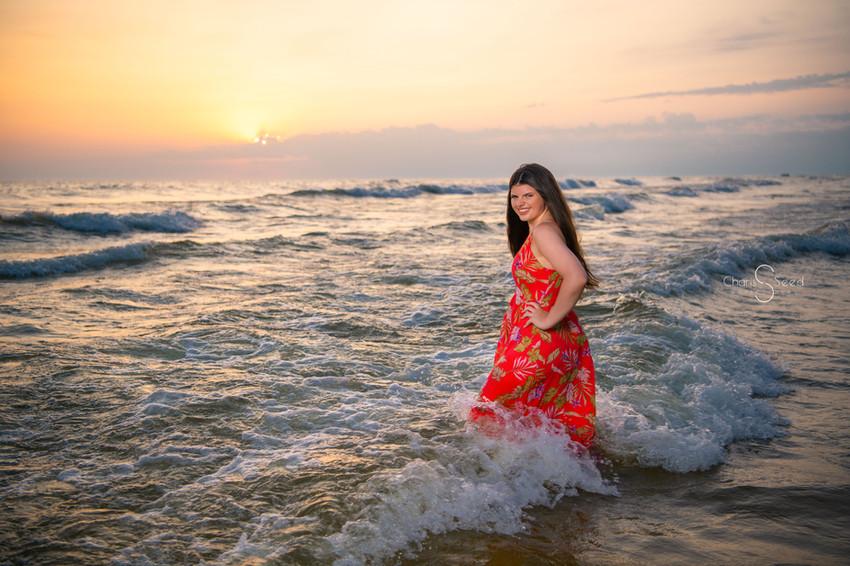 sunset lake michigan senior pictures