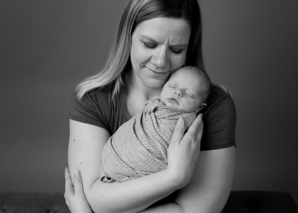 mother and newborn black and white photography