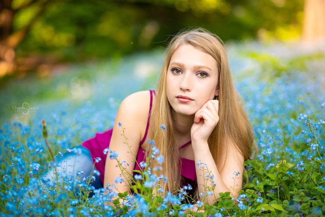 senior girl bluebells