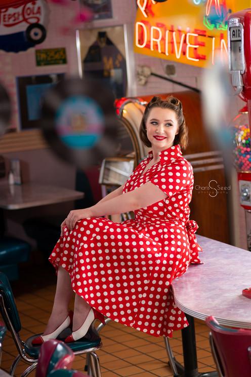 senior girl polka dot red dress