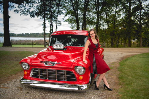 50s red vintage car and girl