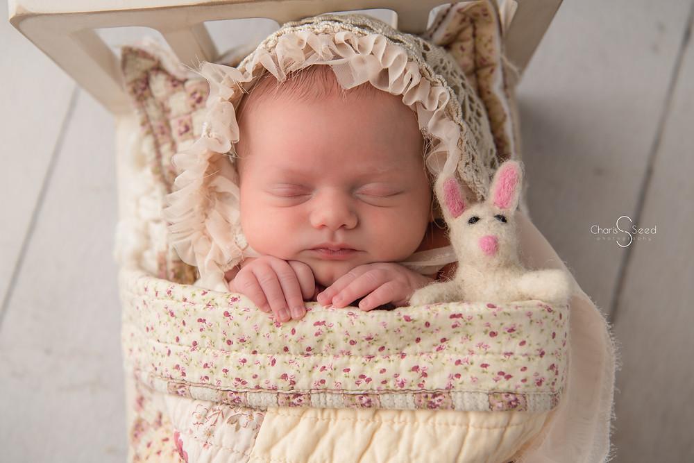 newborn baby with bunny