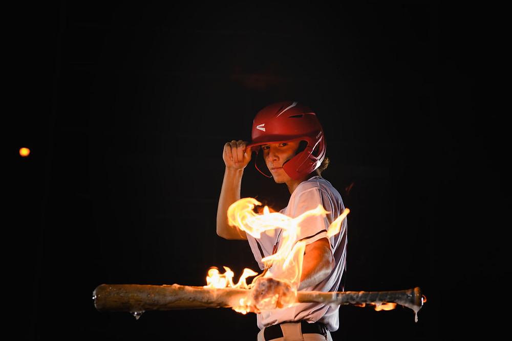 baseball Bat on Fire Senior Pcitures