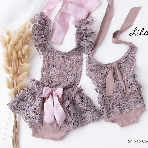 Lilac Purple lace Rompers