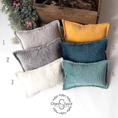 quilted velvet newborn pillows