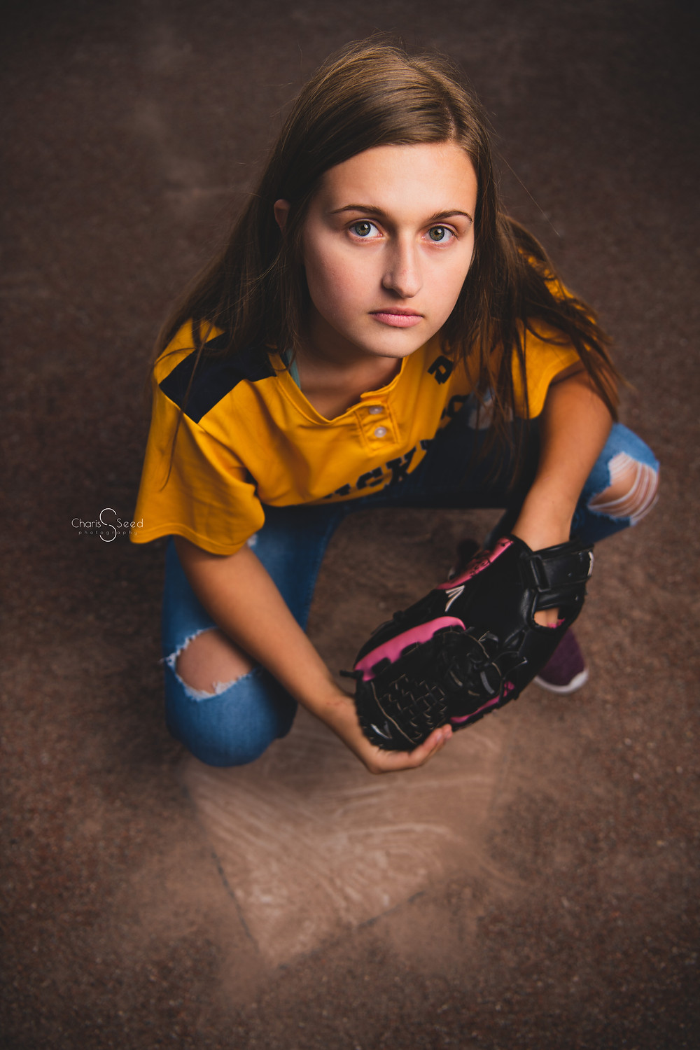 softball girl senior picture with glove