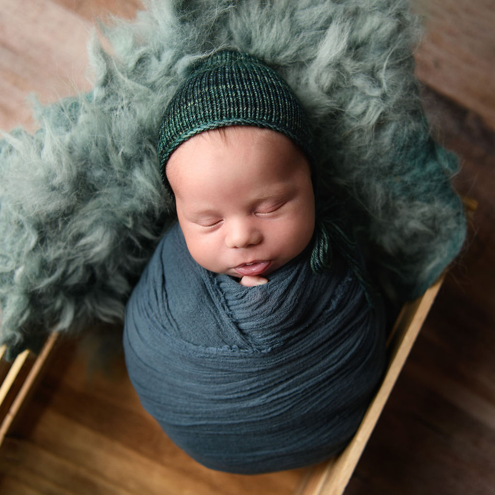 Baby Boy in Blue   Newborn Photography