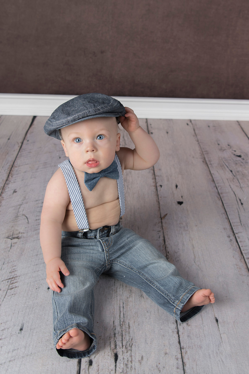 9 month old boy with cap