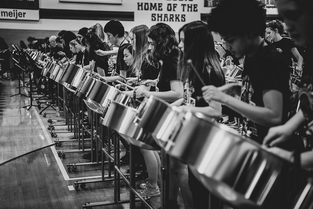 steel drum black and white photo
