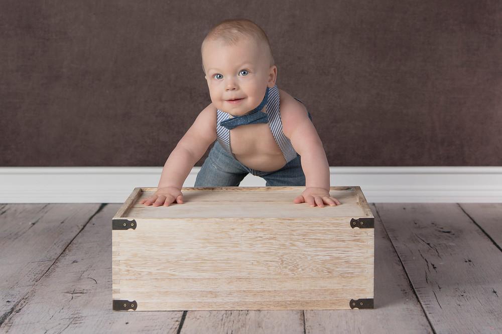 bow tie sitter boy on box