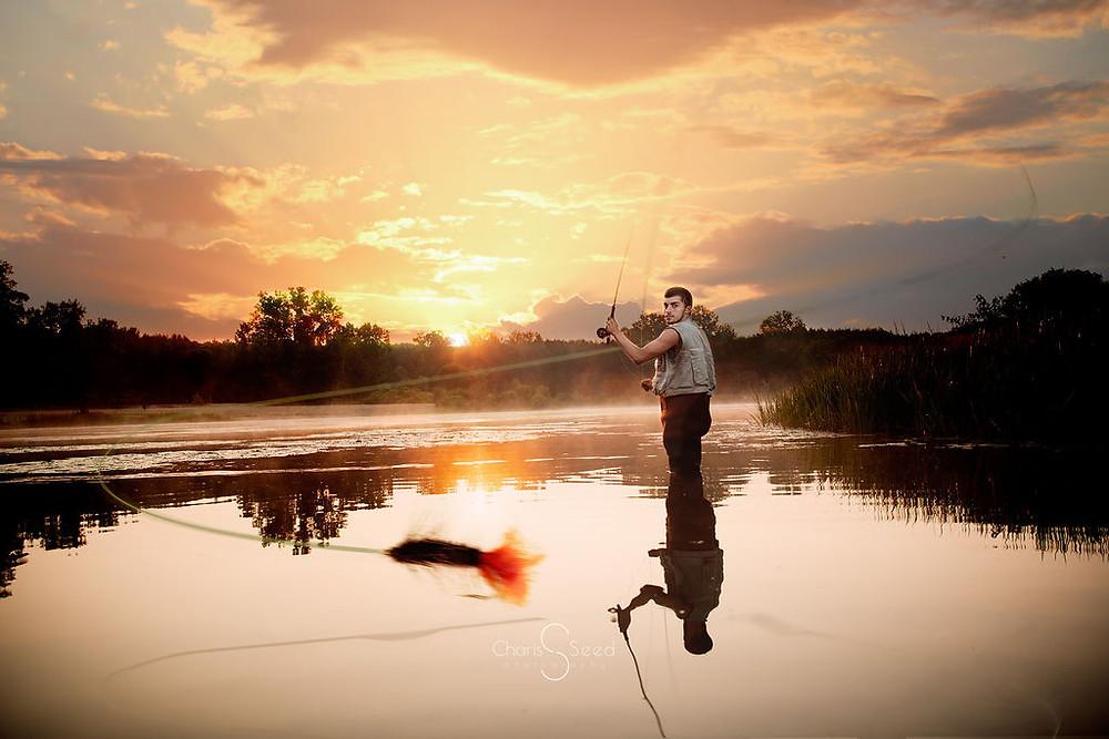 Michigan sunrise fishing senior photo