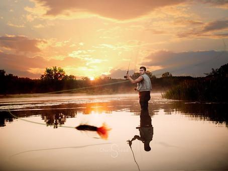 Michigan Fishing & Football-Fall Senior Portraits with a Twist
