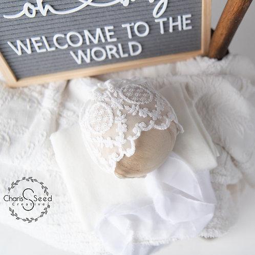 White lace newborn bonnet vintage set photography