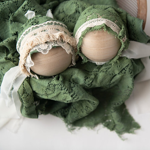 Olive green lace layer and bonnet