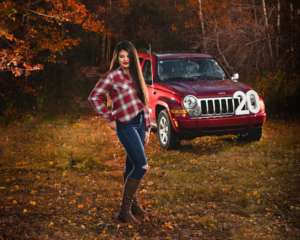 girl autumn jeep