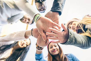 Hands united to carry out a project together
