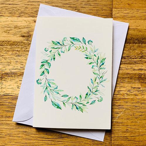 Green Leaf Garland Greeting Card