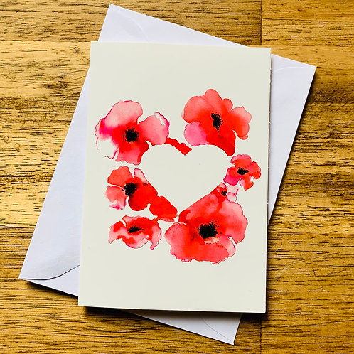 Poppy Heart Greeting Card