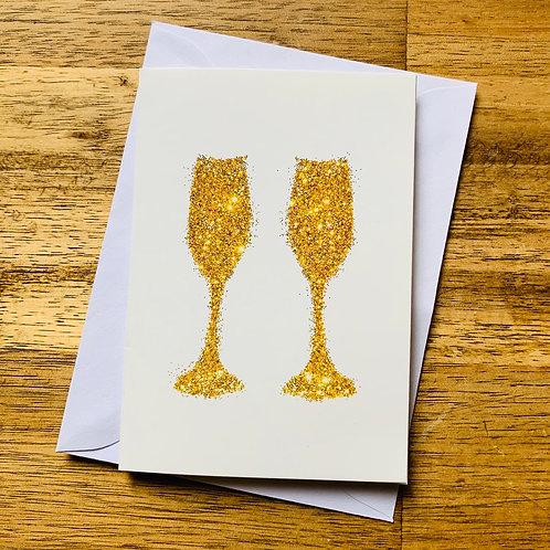Golden Sparkling Champagne Flutes Greeting Card