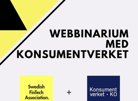SweFinTech arrangerar webbinarium med konsumentverket