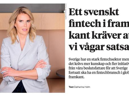 """Läs om SweFinTechs ordförande i Affärsvärldens bilaga """"future of finance"""""""